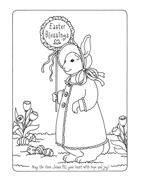 activity village coloring pages easter religious | Easter Blessings Coloring Page - Karla's Korner