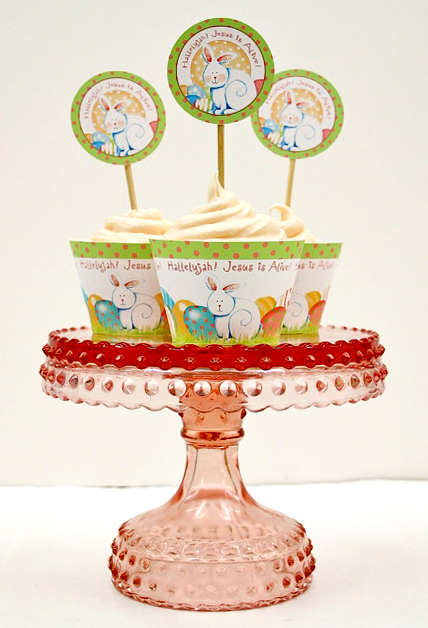 Easter Cupcakes on Pedestal