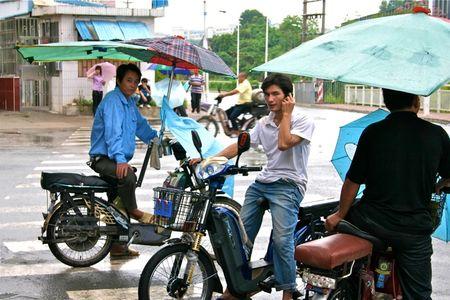 Umbrellas on Bikes