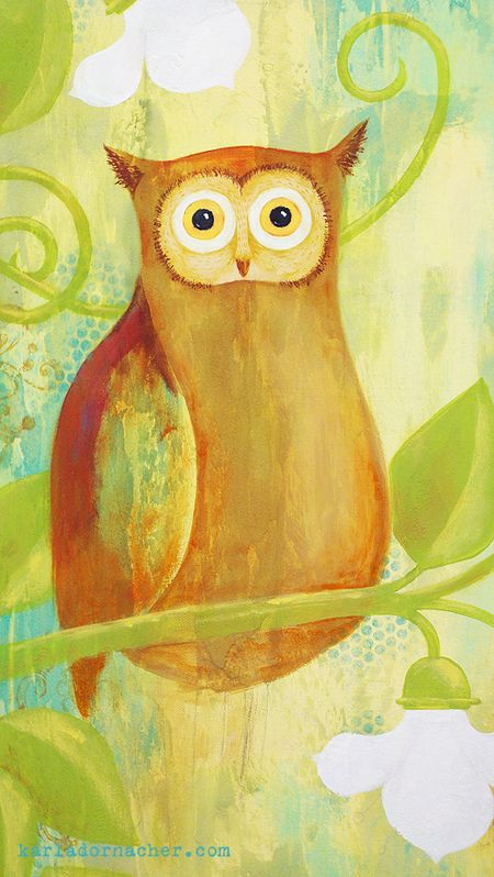 Owl Painting in Progress Close Up