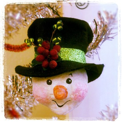 Black Hat Snowman Ornament