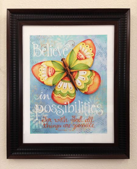 Framed Butterfly Believe