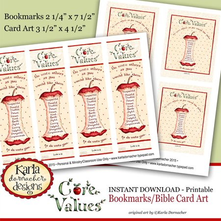 Core Values Bookmarks and Card Art etsy