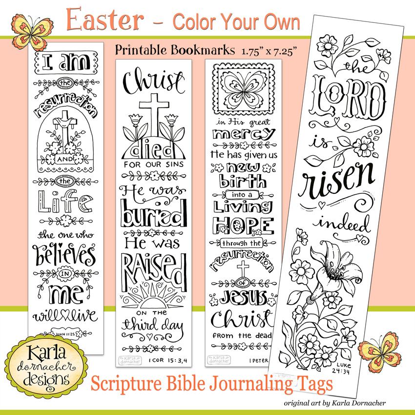 Easter Color Your Own Bookmarks Etsy