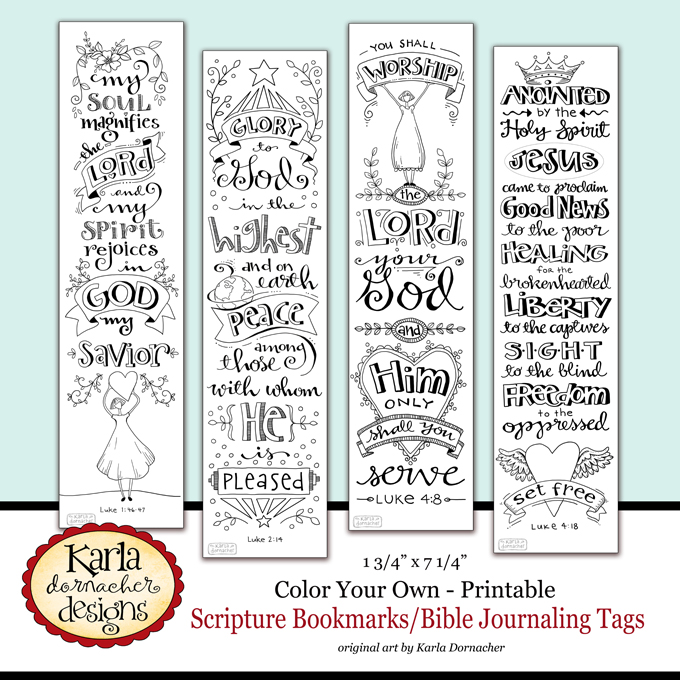 image about Free Printable Bible Bookmarks to Color known as Contemporary Bible Journaling Bookmarks - Karlas Korner